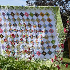 Anne has been doing a little happy dance lately because she's put the finishing touches on her Spring Garden quilt, and it's soooo pretty. Nine Patch Quilt, Summer Quilts, Swirl Pattern, Number Two, Spring Garden, My Favorite Part, Square Quilt, Quilt Making, Quilt Patterns