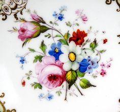 Fine HP Antique Old Paris Porcelain Dessert Set, 6 Plates, 1 Platter, from antiques-uncommon-treasure on Ruby Lane