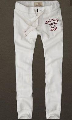 HOLLISTER Palm Tree Button Cream/White Sweatpants NeW Men's Large Super Skinny #Hollister #TrackSweatPants
