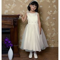 Toddler Girls Ivory Bead Sash First Communion Dress 2T ** Find out more about the great product at the image link.