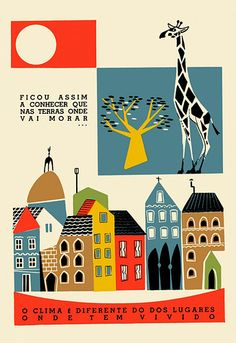 planeta tangerina Art And Illustration, Illustrations Vintage, Building Illustration, Graphic Design Illustration, Illustrations Posters, Giraffe Illustration, Elephas Maximus, Kitsch, Zine