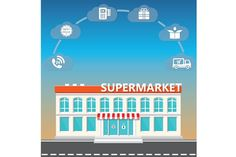 Shop supermarket on the roadside Graphics Shop supermarket on the roadside and icons of ordering.The vector illustration can be used both enti by Vectorchoice