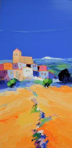 PEINTURE : CHRISTIAN EURGAL - CHEMIN BLEU Impressionist Landscape, Landscape Art, Landscape Paintings, Palette Knife Painting, Painted Leaves, Naive Art, Beach Scenes, Abstract Art, Kandinsky