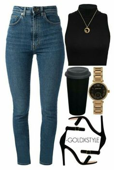 A fashion look from February 2015 featuring Yves Saint Laurent jeans, CÉLINE sandals and MICHAEL Michael Kors watches. Browse and shop related looks. Mode Outfits, Stylish Outfits, Fall Outfits, Summer Outfits, Fashion Outfits, Womens Fashion, Fashion Trends, Ladies Fashion, Fashion Ideas