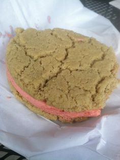 Best cookie ever (couldn't resist taking bites)!!!!!!!!!!! Lemon cookie sandwich with raspberry cream filling. | Yelp