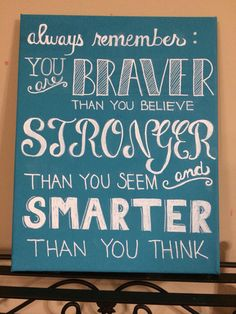 Always Remember: You are Braver Than You Believe, Stronger Than You Seem and Smarter Than You Think- Canvas Word Art.