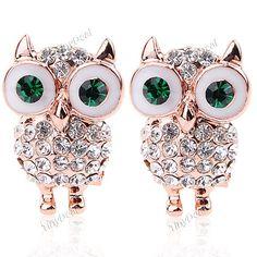 Pair of Owl Style Earrings Ear Nails Eardrop Ear Drop Earbob Jewelry for Girls Women NAF-150207