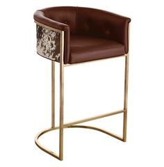Calvin Top Grain Brown Leather Hair Hide Leather Art Deco Bar Stool Nice! but super expensive!  $2,400 each