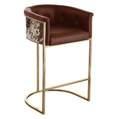 Calvin Top Grain Brown Leather Hair Hide Leather Art Deco Bar Stool Nice! but super expensive!  $2,400 each