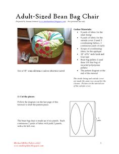 Easy Self Draft Bean Bag Pattern With Great Instructions No Messy - Adult bean bag pattern free
