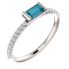 14K White London Blue Topaz  #JewelryForSale