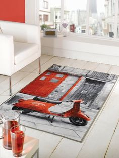 Red Scooter Retro Vacation Washable Rug