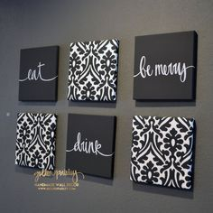 Navy Blue Eat Drink & Be Merry Wall Art Pack of 6 Canvas Wall decor diy canvas This item is unavailable Fabric Wall Art, Canvas Wall Decor, Diy Canvas Art, Fabric On Canvas, Canvas Wall Art Quotes, Wall Art Sets, Diy Wall Art, Wall Art Decor, Decor Room