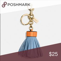 "Leather Tassel Bag Charm 1.25"" attached split key ring and carabiner clip. Leather and plated metal. Color is Cornflower/Gold. Coach Accessories Key & Card Holders"