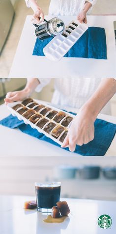 Coffee Ice Cubes Recipe: Brew regular coffee and let it cool to room temperature. Pour evenly into an ice cube tray, then place into freezer. Once frozen, you can use coffee cubes for up to two weeks.