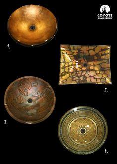 1.Wheat textured Copper vessel 2. Patina Moss Rock vessel 3. Patina Fossil vessel 4. Gold Venice vessel  www.coyoteglass.com