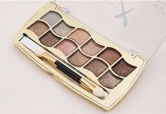 12 colors diamond bright colorful eye shadow palette Glitter eyeshadow with brush