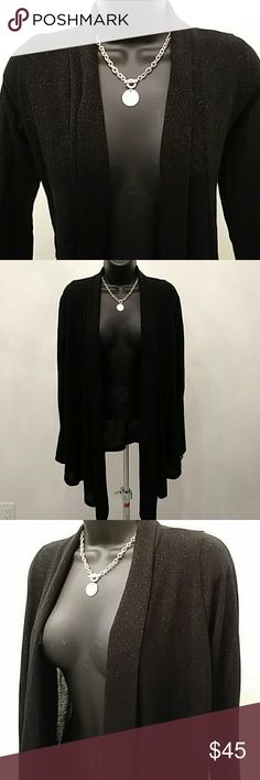 Black Metallic Drape Jacket Soft flowing black drape metallic evening jacket. Jackets & Coats