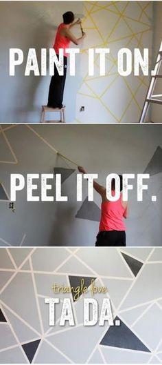 Sehe dir das Foto von Stylista mit dem Titel Geometrische Wandgestaltung mal ganz anders. Gewünschtes Muster mit Malerband kleben und dann mit gewünschter Farbe überstreichen. Malerband abziehen und fertig ist die einzigartige Wandkunst und andere inspirierende Bilder auf Spaaz.de an.