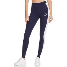 Puma Racing Stripe Logo Leggings (2,545 INR) ❤ liked on Polyvore featuring pants, leggings, logo pants, white pants, white trousers, white legging pants and white leggings
