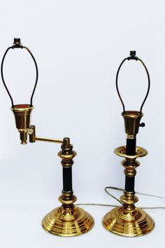 Vintage Pair Brass Table Lamps, Black Accent, Exceptional Beauty, One with Adjustable Arm for Aiming Light, Man Cave, Library, Office, Home by QUEENIESECLECTIC on Etsy
