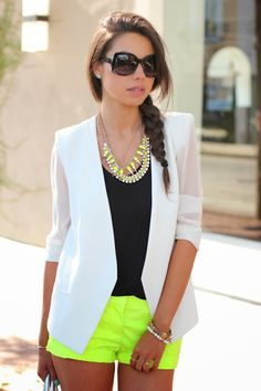 I love the neon shorts with the blazer!