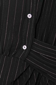 Schwarz Drapiertes Mini-Hemdblusenkleid aus gestreiftem Crêpe mit Bindegürtel   Redemption   NET-A-PORTER Mini Shirt Dress, Metallic Pink, Aquazzura, Dress Outfits, Dresses, Menswear, Shoulder Bag, Belt, How To Wear
