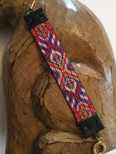 Native American inspired hand loomed beaded bracelet. Red