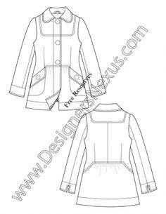 V24 Bib Coat Illustrator Fashion Technical Drawing