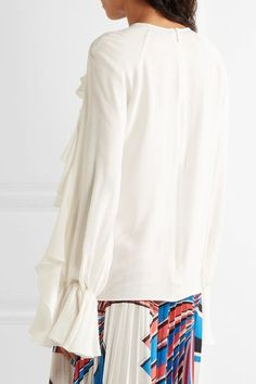 Giambattista Valli - Ruffled Cutout Silk Crepe De Chine Top - White - IT42