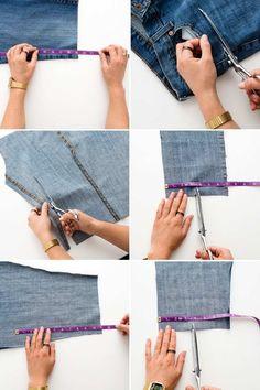 Ecken und Boden der Tasche aus Jeansstoff schneiden