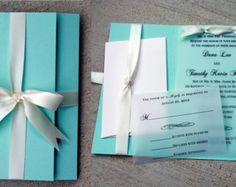 Tiffany Blue Wedding Invitation, Tiffany Blue with White Bow, Tiffany Blue Wedding, Blue & White Invitation, Vellum Wedding Invitation