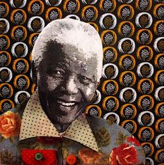 "Please read ""A Measure of the Man"", my tribute to Nelson Mandela, here. (Mandela collage by kind permission of artist Deirdre Botha). Mandela Art, Nelson Mandela, South African Artists, History Images, Out Of Africa, African Diaspora, Freedom Fighters, Face Art, Textile Art"