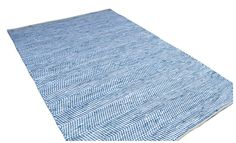 Sustainable carpet chindi - Scandinavian style up cycled blue handwoven rag rug - 250 x 300 cm // 8 x 10 ft. Reversible & durable. by BloomsFromLooms on Etsy