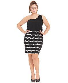 Ruby Rox Plus Size Dress, One-Shoulder Sequin - Plus Size Dresses - Plus Sizes - Macys
