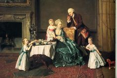 "Johan Zoffany, ""Sir Willoughby de Brooke, 14th Baronet and family at breakfast"" (1766) Contrary to popular belief, in the 18th century pink and blue did not denote girls and boys. All the children in this picture are boys. You can almost hear Papa gently scolding the little one reaching for the toast"