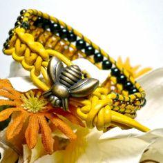 Honey Bee Yellow Leather Black Agate Topaz BOHO Crystal Cuff Bracelet  | KatsAllThat - Jewelry on ArtFire