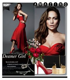 """Deamer girl.."" by foreverhungry-321 ❤ liked on Polyvore featuring Jennifer Lopez, Lanvin, GUESS, H&M, Chrome Hearts, Nearly Natural, red and Sexy"
