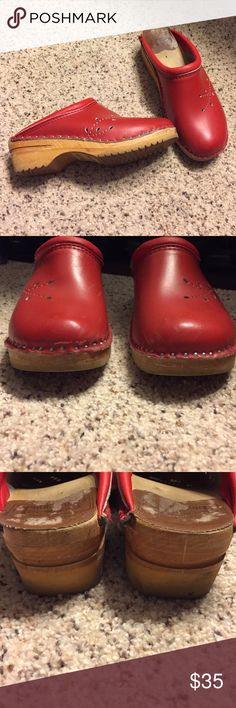 Beautiful Leather Swedish Clogs 38 7.5 8 Troentorp Make an offer!! I am so sad to reposh these.  I need a 39. These are a 38, which would be best for a 7.5 or smaller 8. Red leather upper.   If you are a 38 in Dansko these should work!  They are the CUTEST red clogs! Troentorp clogs retail for $124 on the Troentorp website. This style is O'Keefe and holy goodness, are they way more comfortable than Swedish Hasbeens ! Thanks!! A few scuffs. One scratch on toe. So nice!! Troentorp Shoes
