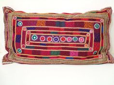 "27"" x 15"" Afghanistan Tribal Hand Embroidery Pillow by oldsilkroute, $125.00"