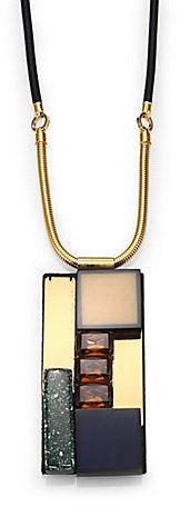 Marni Rectangular-Pendant Cord Necklace on shopstyle.com.au