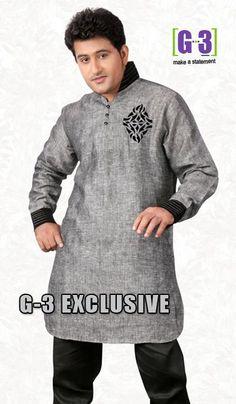 G3 Fashions Grey Linen Short Pathani Kurta  Product Code : G3-MSP1025 Price : INR RS 2775