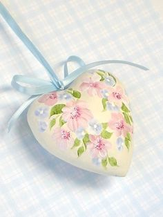 Ornaments Heart Shape  Hand Painted Pink Mums by HandPaintedPetals, $22.50