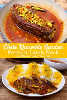 This is my take on Chelo Khoreshte Gardan. This Persian Lamb Neck Stew is so tender and delicious, yet so incredibly easy to make! Ingredients (serving 3 to 1 lamb neck cup slivered pistachios cup slivered almonds 2 cups water 3 tbsp tomato … Persian Lamb Recipe, Persian Recipes, Indian Dessert Recipes, Mexican Food Recipes, Lamb Neck Recipes, Iran Food, Lamb Stew, Eastern Cuisine