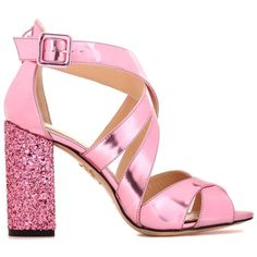 Charlotte Olympia Apollo 100 Embellished Leather Sandals (¥41,840) ❤ liked on Polyvore featuring shoes, sandals, charlotte olympia, heels, real leather shoes, heeled sandals, decorating shoes, pink heeled sandals and leather footwear