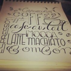 Cafe coffee words letters