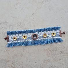 Items similar to Denim Fabric Bracelet - Lace and Denim Bracelet - Boho Bracelet - Button Bracelet - Cuff Bracelet - Hippie on Etsy Diy Denim Bracelets, Fabric Bracelets, Fabric Jewelry, Fashion Bracelets, Cuff Bracelets, Leather Bracelets, Leather Cuffs, Metal Jewelry, Diy Jewelry