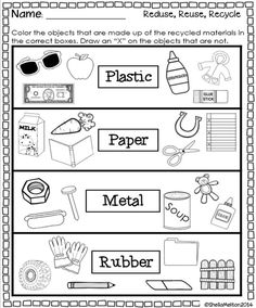 Reduce reuse recycle educational finds and teaching treasures activities kindergarten kinder science preschool worksheets for grade math Earth Day Worksheets, Earth Day Activities, Science Worksheets, Worksheets For Kids, Printable Worksheets, Science Activities, Free Printable, Science Centers, Shapes Worksheets
