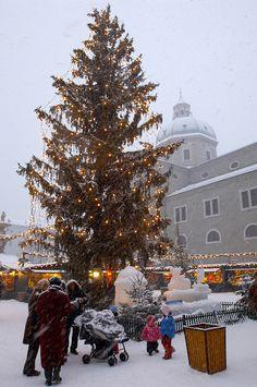 Salzburg, Austria - Snowy Christmas market