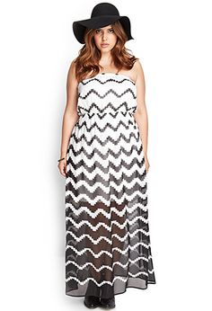 Forever 21+ - A strapless number, this maxi dress features an ombré zigzag pattern and vented back. Complete with elasticized trim, pair this number with wedges and a straw fedora for weekend adventures.